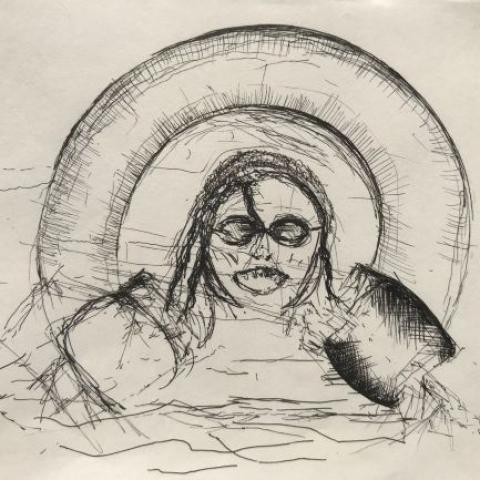 pentekening zwemster door Martijn Kuijs