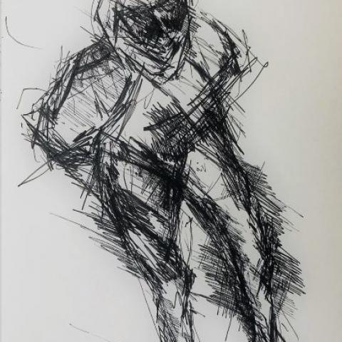 pentekening schaatsrijder door Martijn Kuijs