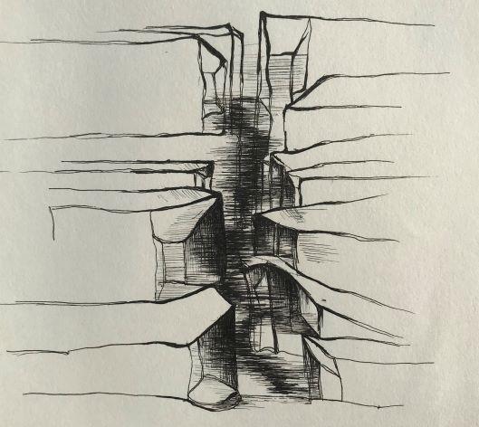 pentekening breuklijn door Martijn Kuijs