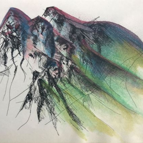 pentekening bergen door Martijn Kuijs