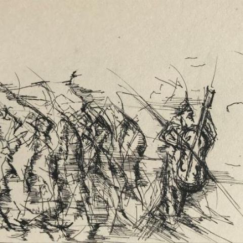 pentekening straatmuzikant door Martijn Kuijs