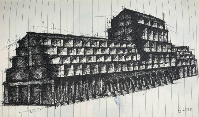 pentekeningen gebouw door Martijn Kuijs